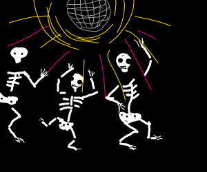 skelletons dancing at a disco