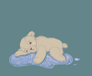 teddy bear sadly embraces puddle