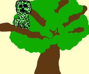 creeper (minecraft) is stuck in a tree