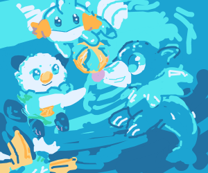 A Bunch of Water Pokémon Playing