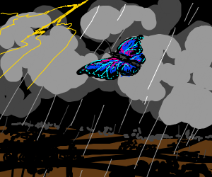 Butterfly in a lightning storm