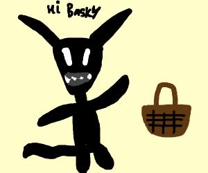 a shadowy rabbit-man-thing greets a basket