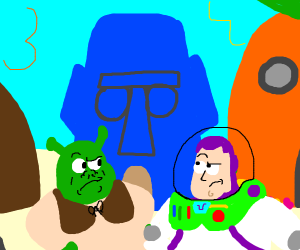 shrek and buzz lightyear in bikini bottom