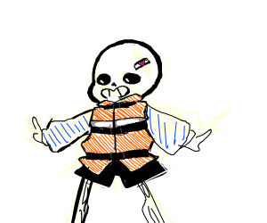 sans but in a life jacket and barrete