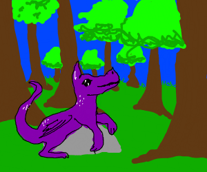 a small dragon sitting on a rock in a forest