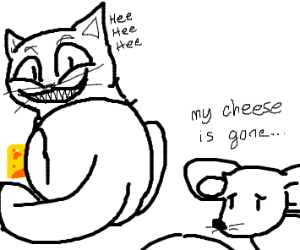 Cat stole some cheese from a mouse