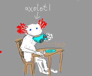 An axolotl sipping some tea like Kermit