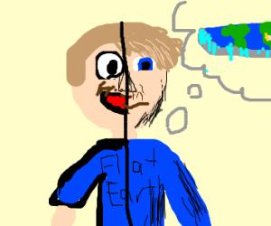 Flat earther half cartoon half realistic?