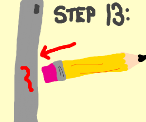Step 13: erase the red mark on the pole