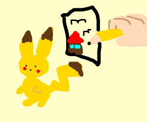 pikachu and hand drawing a house and birds