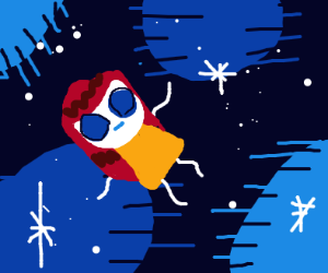 Girl floating in space