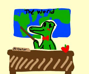 Happy alligator geography teacher