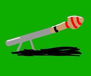 A bazooka on a green screen