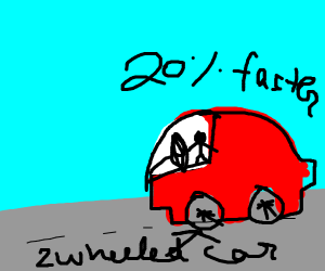two-wheeled car and twenty percent faster