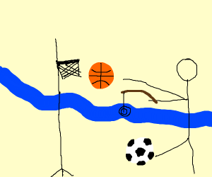 Soccer, Basketball, & Fishing simultaneously