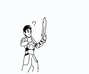 Man cannot figure out how sword works