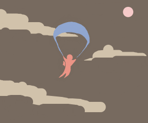 Red Guy Parachuting