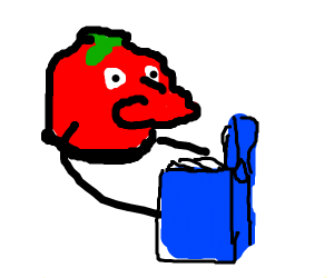 A tomato with a red nose reading a blue book