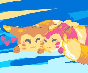 Normal Furret & Shiny Furret cuddle together