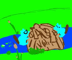 Two adorable blue beavers building a dam