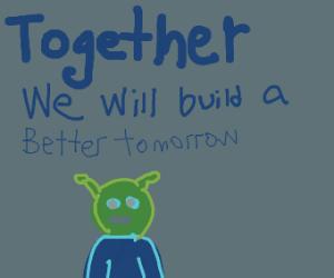 Shrek's presidential campaign logo