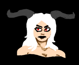 White-haired woman with cow horns and red eye