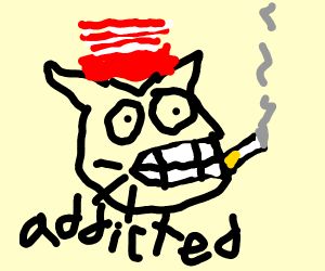 cat in the hat getting addicted to nicotine