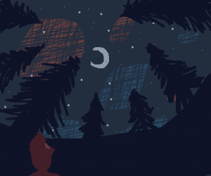 A man looking into the moon from forest..