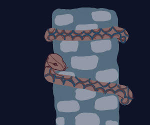 Snek slithers up stone tower