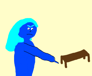 Blue girl is mad at table