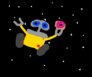 Robot in space with a donut