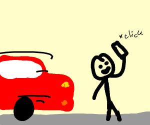 dumb guy taking selfie on road