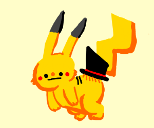 Pikachu with a top hat on his ass