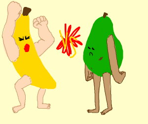 Buff banana man vs Weak pear man