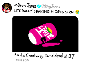lebron james crying at sprite cranberry