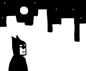 Batman looks over Gotham City
