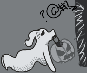 ghost dog trick or treating in a bad neighbou