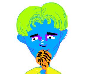 green haired singer