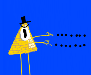 bill cipher shoots black dots out of his hand