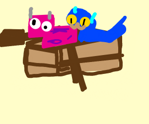 Pink cow and blue cat in a boat
