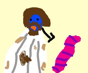 Bird jesus looks at worm