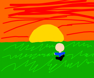 Person watches sunset