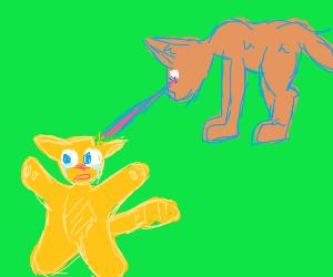 Dog With Laser Eyes Vaporizing a Cat