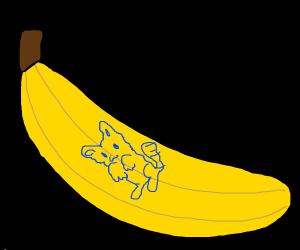 Lemur penned on a banana