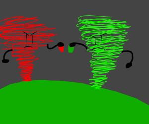 Red&GreyTornadoIsFenceWithFed&GreenBlobOn????