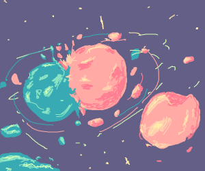 two planets colide