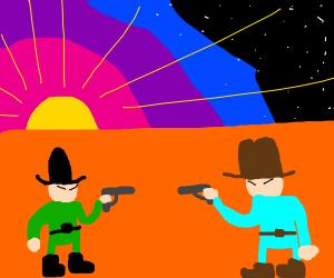 wild west gunfight in sunset