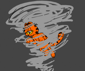 Garfield caught in a tornado