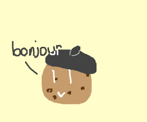 Cookie with a beret says bonjour