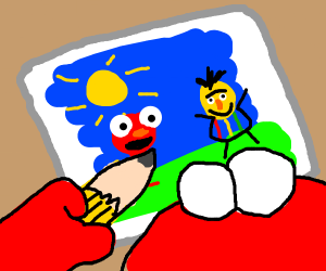 Elmo draws himself and bert